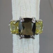 Judith Ripka Smoky Quartz Canary Crystal & Diamond Ring - Size 7