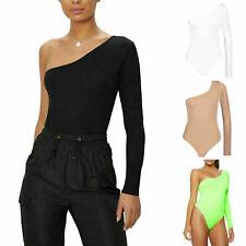 Womens Ladies Plain One Shoulder Long Sleeve Bodysuit Leotard Fashion Party Top