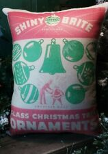 Vintage Style Shiny Brite Christmas Advertising Store Ornaments Red Box Pillow