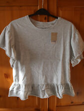 Next Girls Grey Ruffle Hem Short Sleeve T-Shirt Size 11yrs BRAND NEW WITH TAGS