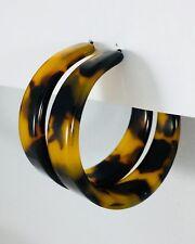 Tortoise Shell Hoop Earrings Resin Acetate Jewelry 1.5 inches