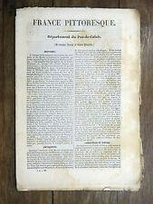 HUGO France Pittoresque PAS-DE-CALAIS 1835 Avec carte & 5 gravures ARTOIS