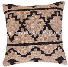 Vintage Kilim Jute Pillow Case 18x18 Handwoven Decorative Throw Cushion Cover