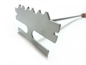 """BBQ CHOICE 18"""" Rosewood/Stainless Steel Barbecue Grill Scraper/Cleaning Tool"""