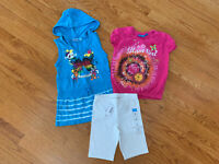 The Children's Place Girls Two Shirts/Tops With Bike Shorts Outfit, Size S 5/6