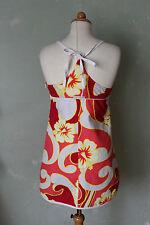Quiksilver Kleid Sommerkleid Strand Blumen Motiv rot orange weiss 38 M (K2)*