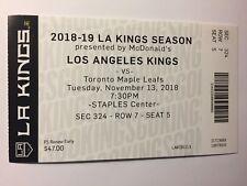 LOS ANGELES KINGS VS TORONTO MAPLE LEAFS NOVEMBER 13, 2018 TICKET STUB