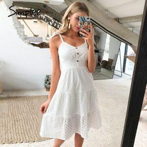 Women summer beach dress Bow-knot spaghetti embroidery female midi dress
