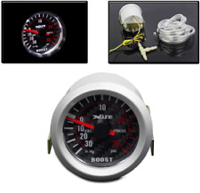 "UNIVERSAL BOOST GAUGE UP TO 30PSI SIZE 52MM/2.04"" CARBON FIBER WHITE LED LIGHT"