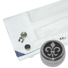 Fleur de Lis Lys Cuff BUTTON COVERS Set Scouts French Cufflinks Present Gift Box