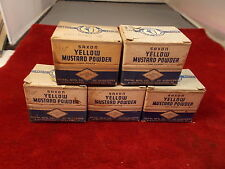#5, NEW OLD STOCK SAXON'S YELLOW MUSTARD POWDER BOXES, VTG ADVERTISING, 5 AVAIL