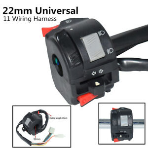 Motorcycle Handlebar Control Headlight Turn Signal Horn Switch w/ Wiring Harness