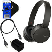 Sony Bluetooth Wireless On-Ear Headphones WH-CH500 (Black) + USB Cable & Adapter