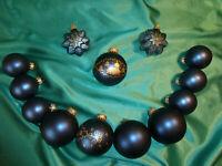 ~ Konvolut Christbaumschmuck Glas11 Weihnachtskugeln 2 Sterne blau gold CBS