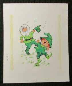 "ST PATRICKS DAY Dancing Leprechauns 7x9"" Greeting Card Art #7838"