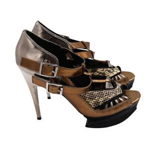 Pedro Garcia Gold Silver Leather Python Print Styletto Shoe Womens Size 40