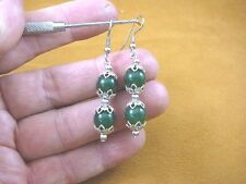 ee404-46) 10 mm Green Jade Canada gemstone 2 bead + silver beads dangle earrings