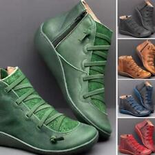 Mujeres Botas al Tobillo Martin Zapatos sin Taco Botas de otoño de mujer con cordones Puntera Redonda Lz