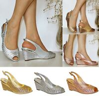 Womens Ladies Diamante Wedge Low Mid Heel Evening Party Bridal Shoes Sandals 496