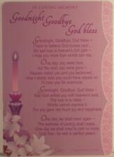 Memorial Grave Card Goodnight Goodbye God bless 15cm x 10.5cm