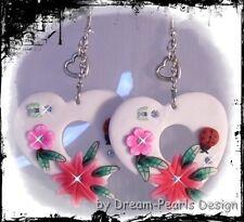 ♥ Dream-Pearls Herz Ohrringe weiß Liebe Strass Schmetterling Marienkäfer ♥ OH080