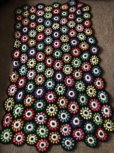 Crochet Colorful Black Pink Orange Flower Granny Squares Afghan Blanket 75 x 40