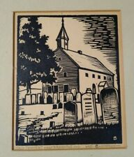 """HARRY E THOMPSON WOODCUT PRINT SIGNED """"OLD TENNENT FREEHOLD NJ""""  WPA Interest"""