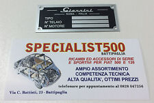 FIAT 500 F/L/R TARGHETTA RIASSUNTIVA DATI IN METALLO  GIANNINI PER VANO MOTORE