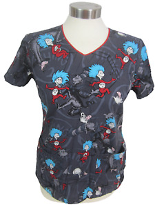 Dr. Seuss Womens Medical Scrub Shirt XS Cat in the Hat Thing 1 2 pullover vtg