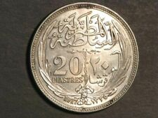 EGYPT 1917 20 Piastres Silver Crown AU-Unc