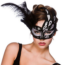 Nero Argento Glitter Salerno Filigrana Masquerade Maschera Veneziana Costume 9817