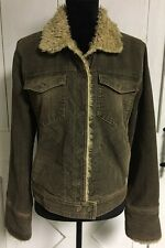 Women's  XL American Eagle Sherpa Corduroy Jean Style Jacket Brown Distressed
