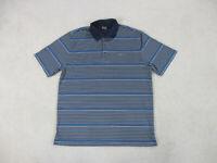 Greg Norman Polo Shirt Adult Extra Large Blue Gray Striped Shark Lightweight Men