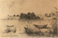 Bleistift Zeichnung Boote am Ufer 1886 Skizze Studie 19. Jahrhundert