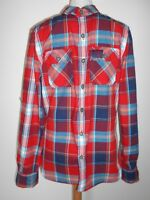 SUPERDRY men's shirt size S Small red blue white check casual long sleeves