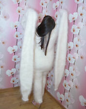 Sweater White SUPER LONG SLEEVE Longhair 100% Goat Down Mohair  UNISEX FETISH