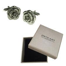 Mens Silver Rose Flower Gardener Love Cufflinks & Gift Box By Onyx Art