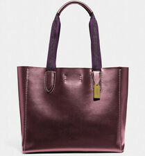 NWT Coach F39675 Metallic Derby Tote Wine Purple Pebble Leather $298 Retail