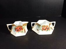 BEAUTIFUL ANTIQUE FAVORITE BAVARIA CREAMER AND SUGAR BOWL