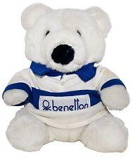 "Vintage 80s BENETTON 13"" Plush Stuffed Bear Animal Rugby Shirt Blue & White"