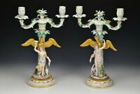 Pair of Meissen Porcelain Candelabra with Eagles and Women 19th Century