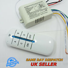 220V Wireless Switch 4 Way + ON/OFF Remote Control Light Button Controller