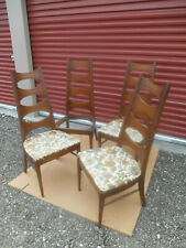 Four Mid-Century Modern Kent Coffey Perspecta Walnut Ladder Back Dining Chairs