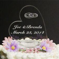 Side Heart Wedding Cake Topper Sideways Heart Acrylic Cake Top w wedding rings