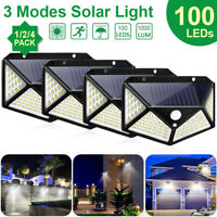 Waterproof 100 LED PIR Motion Sensor Wall Light Solar Power Outdoor Garden Lamp