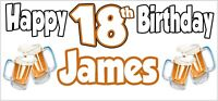 Beer 18th Birthday Banner x 2 Party Decorations Teenager Son Daughter - ANY NAME