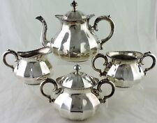 "ANTIQUE SILVER PLATE TEA/COFFEE POT SUGAR BOWL CREAMER ""PUMPKIN"" BEADED SET"