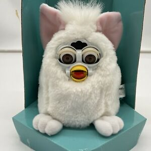 1999 Furby Babies Baby White Faceplate on White Fur Brown Eyes NEW IN BOX NIB