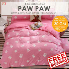 SOL HOME 4PCS Bedsheet Set - Queen -Paw Paw- 1FS+1QC+2PC