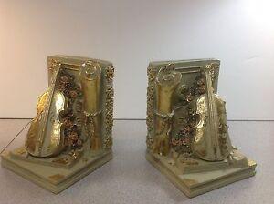 Musical Themed Resin 2PC Bookend Set Elegant Gold Trim Floral